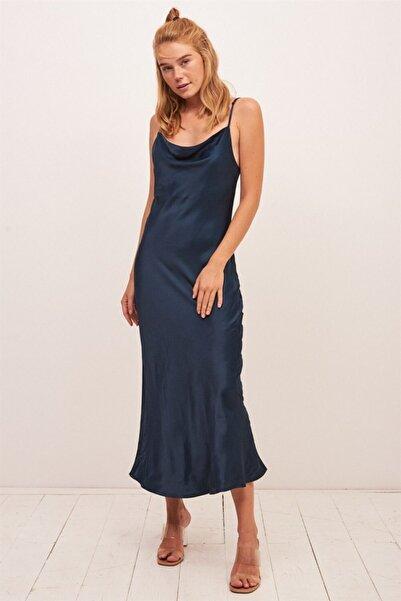 Never more Saten Degaje Yaka Lacivert Elbise