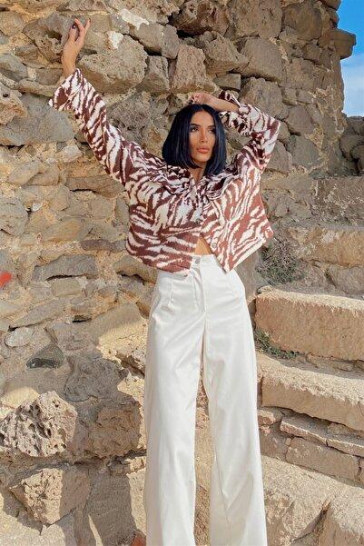My love butik Zebra Desen Crop Yumoş Ceket