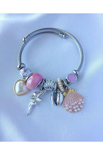 Aurora Jewelry Charmlı Perili Pembe  Çelik Bileklik