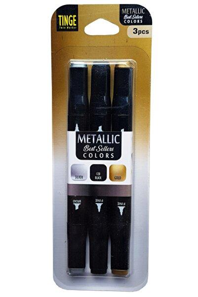 Tinge Marker Kalem - 3'lü Metalik Renkler Marker