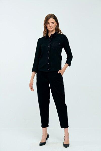 JEANNE DARC Siyah Düğme Detaylı Gömlek Yakalı Trikolu Takım Jp40991