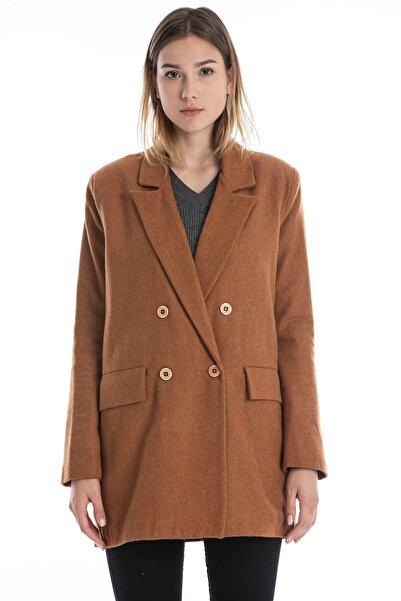 Makferlan Kadın Taba Ince Kumaş Astarlı Mevsimlik Yumuşak Tuşeli Çift Cepli Ceket