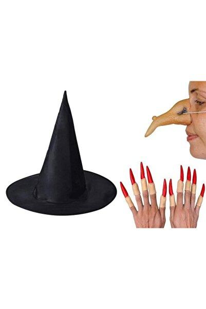 BAK BEĞEN AL Cadılar Bayramı Halloween Siyah Cadı Şapkası Burnu Ve 10 Adet Kırmızı Tırnak