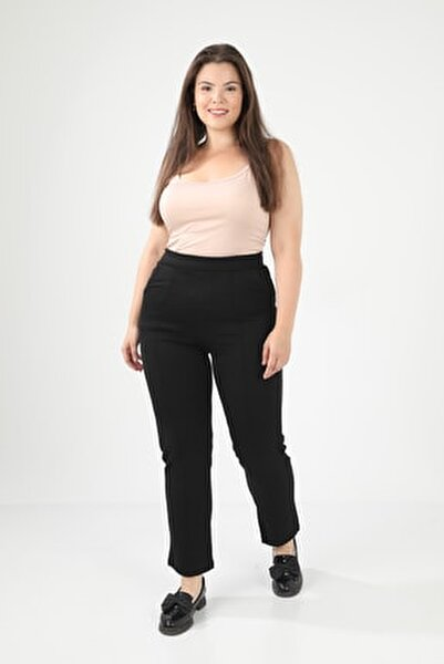 Kadın Siyah Büyük Beden Önü Çımalı Boru Paça Çelik Interlok Pantolon