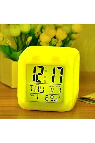 Premio Ev Ofis Masa Saati 7 Renk Değiştiren Dijital Küp Alarmlı Çalar Saat Gece Lambası Takvim
