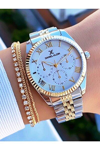 Daniel Klein Sarı Gümüş Çelik Kordon Kadın Kol Saati Ve Bileklik