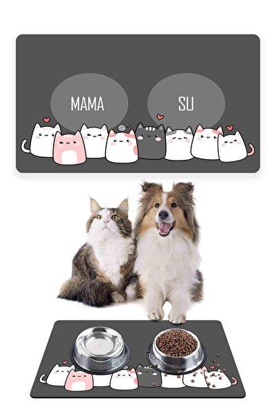 Patipeti Kediler Gri Kalp Kedi Köpek Mama Altlığı Mama Paspası 50x35cm