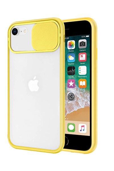 sepetzy Apple Iphone Se 2020 Uyumlu Kılıf Slider Kamera Korumalı Arkası Şeffaf Buzlu Kapak - Sarı