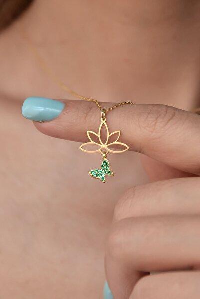 Papatya Silver 925 Ayar Gümüş Altın Kaplama Yeşil Taşlı Kelebek Lotus Çiçeği Kolye