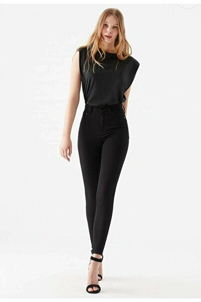 sinemstyle Kadın Simsiyah Renk Solmaz Slim Fit Süper Yüksek Bel Skinny Jeans