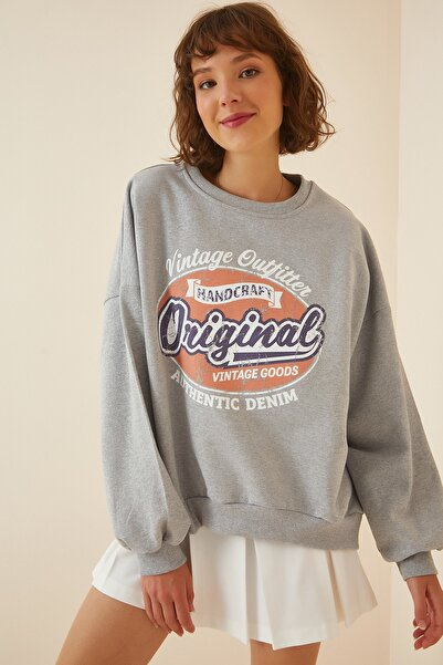Happiness İst. Kadın Gri Baskılı Şardonlu Sweatshirt DZ00003
