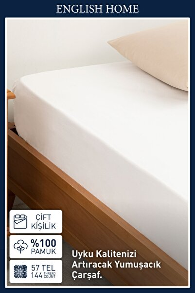 English Home Düz 2 Pamuklu Çift Kişilik Lastikli Çarşaf 160x200 Cm Beyaz