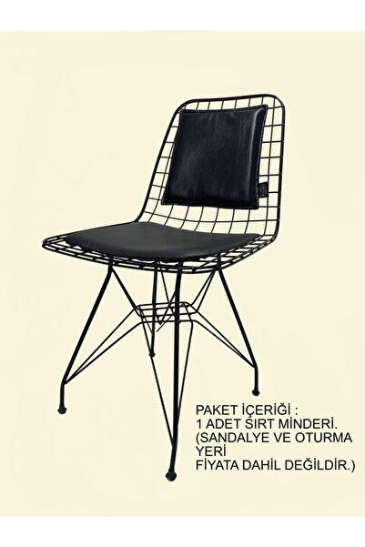 BK exclusive Tel Sandalye Sırt Minderi Siyah Deri