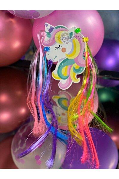 QUEEN AKSESUAR Rengarenk Unicorn 6lı Takma Postiş Saç Toka Pembe Mavi Sarı Mor Yeşil Renkli