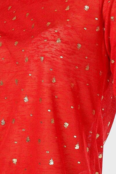 LİMON COMPANY Kadın Kırmızı Desenli Tişört 502682870