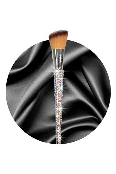 EDA LUXURY BEAUTY Çok Amaçlı Köşeli Makyaj Fırçası Kristal Taşlı Allık Kontür Bronzer Aydınlatıcı Blush Makeup Brush