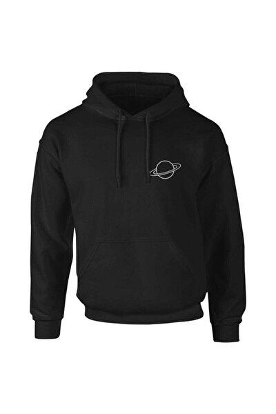 Buğraterzimoda Erkek Siyah Saturn Logo Sweatshirt