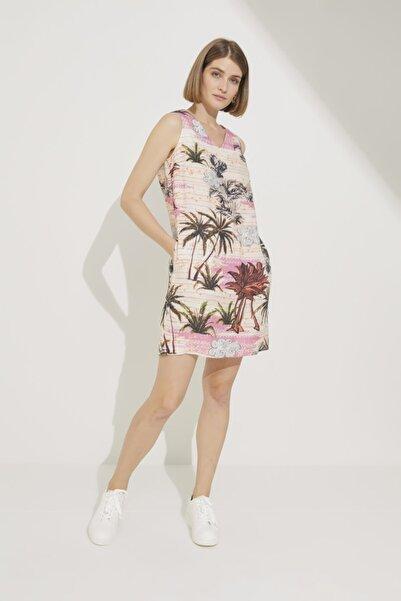 adL Kadın Emp.Pmb Desenli Kolsuz Mini Keten Elbise