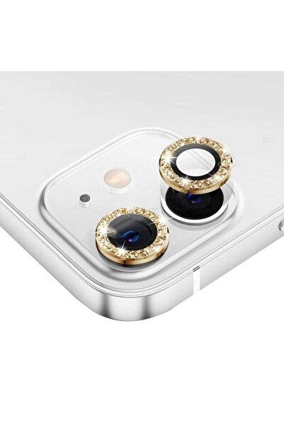 trendmobil Iphone 12 Pro Max Uyumlu Gold Pırlanta 3'lü Kamera Lens Koruyucu