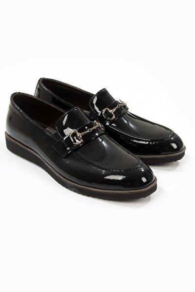 DeepSEA Siyah Metal Tokalı Kaymaz Tabanlı Rugan Erkek Deri Ayakkabı 2106426