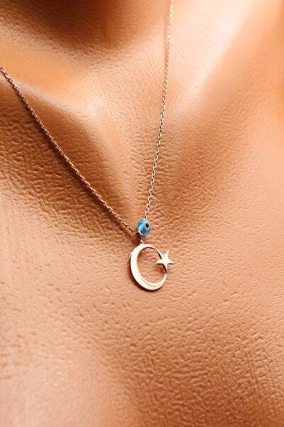 Silver&Silver 925 Ayar Gümüş, Rose Altın Kaplama, Nazar Boncuklu Ay Yıldız Kadın Kolye Ayyldz2011-4