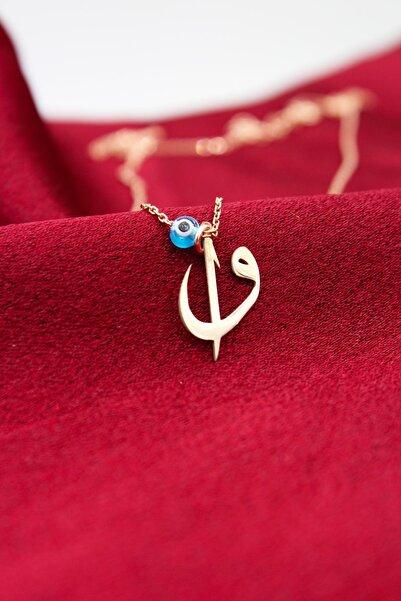 Silver&Silver 925 Ayar Gümüş, Rose Altın Kaplama, Nazar Boncuklu Elif Vav Kadın Kolye Nzrbncelfvv-015