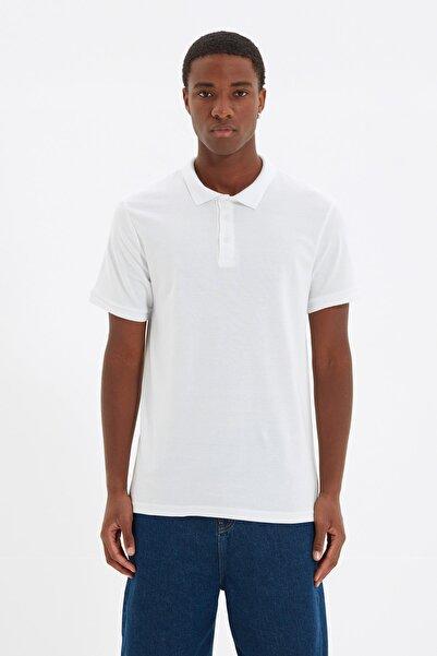 TRENDYOL MAN Beyaz Erkek Slim Fit Polo Yaka Kısa Kollu Polo Yaka T-shirt TMNSS20PO0009