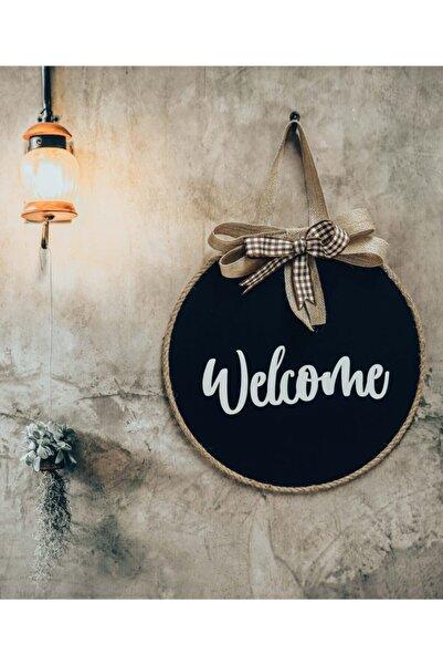 FOTObaskisepeti Welcome Yazılı Siyah Kapı Süsü