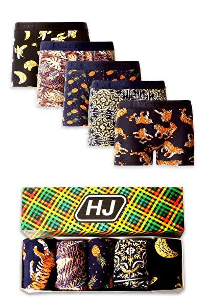 Harry Jons Erkek Desenli Renkli Pamuklu Premium Paket Boxer 5 Li