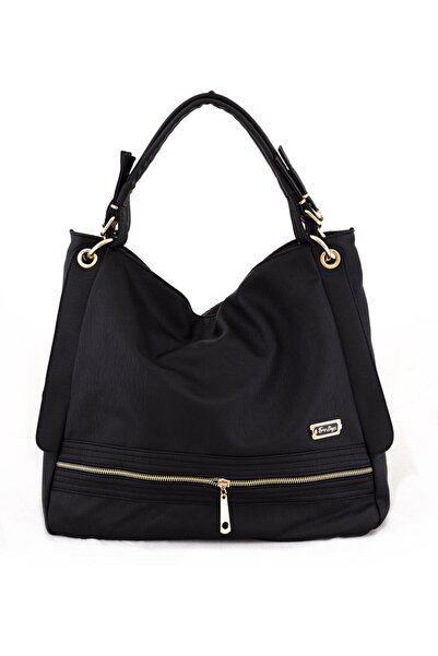 Solo Bag Kadın Siyah Yumuşak Deri Omuz Çantası