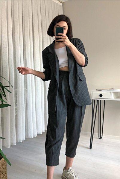 LEEW STORE Antrasit Çizgili Takım Elbise