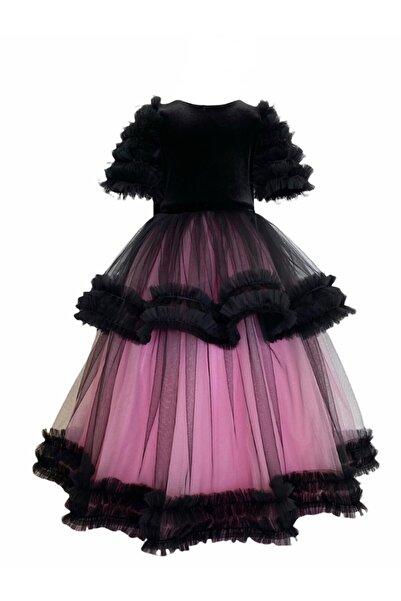 zühre balaban Pembe Siyah Uzun Çocuk Abiye Elbise Zb Kids