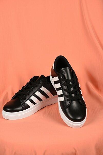 TREND Kadın Siyah Bağcıklı Beyaz Şeritli Deri Spor Ayakkabı