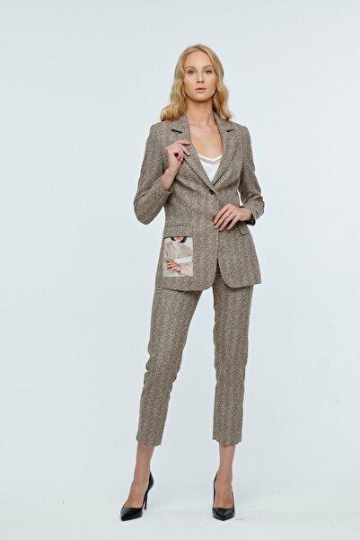 JEANNE DARC Kahverengi Ceketi Resim Detaylı Pantolonu Lastikli Takım Jp41391