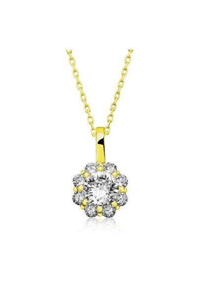 Gumush Gümüş Gold Çiçek Kolye