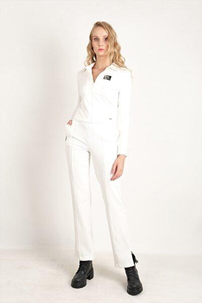JEANNE DARC Beyaz Ceketi Ve Pantolonu Fermuarlı Örme Takım Jp41461