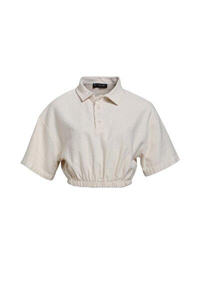 Quzu Gömlek Yaka Crop Bluz Taş