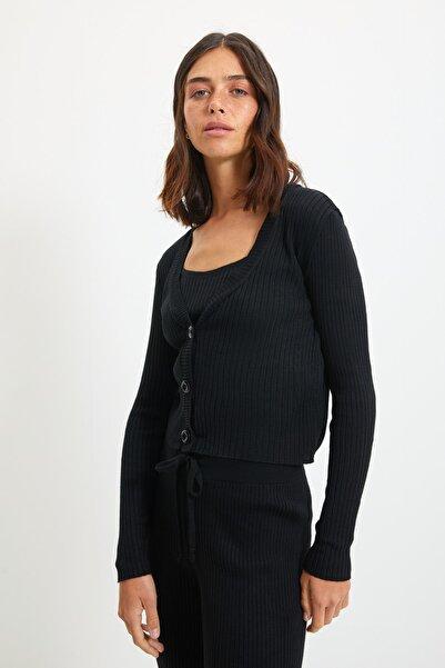 TRENDYOLMİLLA Siyah Fitillli Bluz Hırka Pantolon Triko Alt-Üst Takım TWOAW22AU0006