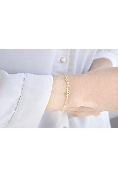 Midyat Gümüş Dünyası Kadın Özel Tasarım Isim Çift Zincir Gümüş Bileklik 925 Ayar Gümüş