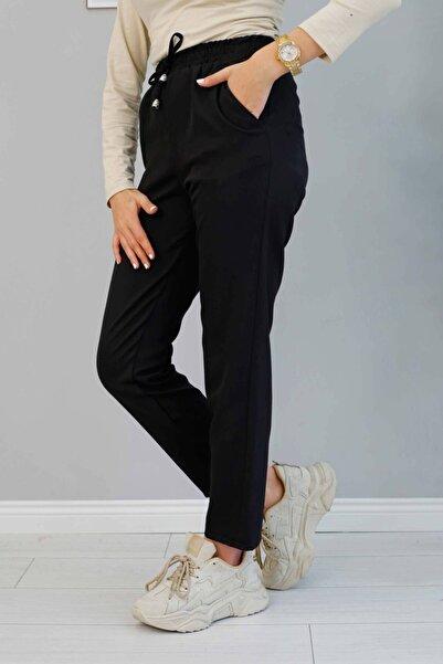 İmajButik Beli Lastikli Bilek Boy Pantolon/siyah