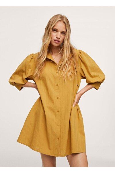MANGO Woman Kadın Hardal Rengi Dokuma Gömlek Elbise