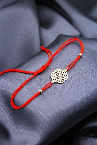 Midyat Gümüş Dünyası Kadın Rose Kırmızı Yeni Yaşam Çiçeği Makrome Örgü Bileklik