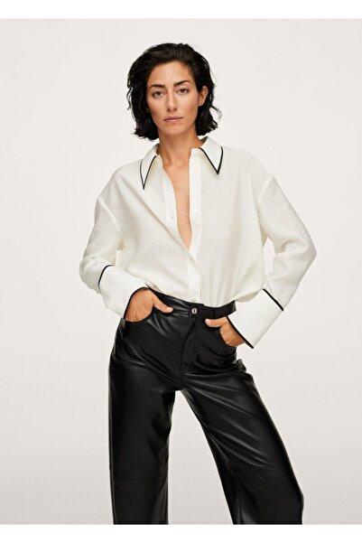 MANGO Woman Kadın Kırık Beyaz Kontrast Kenarlı Liyosel Gömlek