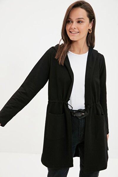 Trendyol Modest Siyah Kapüşonlu İp Bağlamalı Ceket  TCTAW22CK0026
