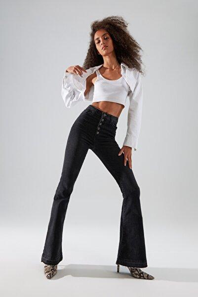 TRENDYOLMİLLA Siyah Önden Düğmeli Yüksek Bel Flare Jeans TWOAW22JE0627