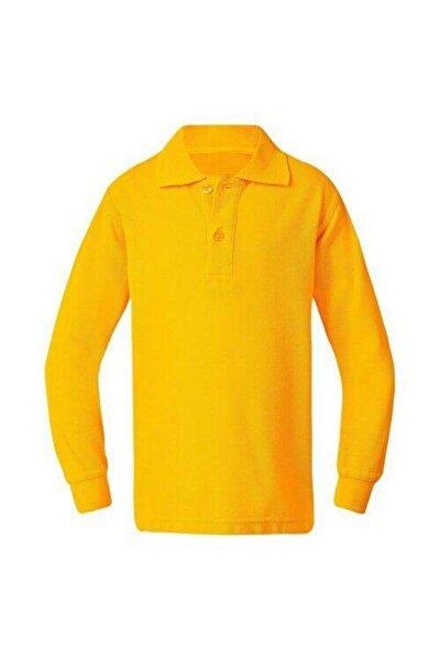ümitteks iş ve okul kıyafetleri Unısex Penye Polo Yaka Sarı Uzun Kollu Okul Tişörtü