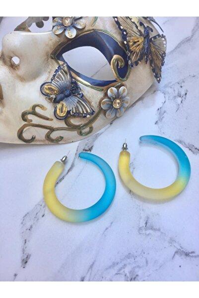 Accessories Sarı Mavi Renkli Küpe