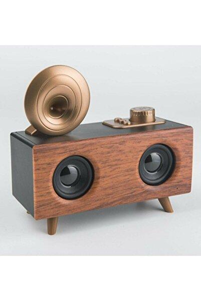 TosyaGritty Ahşap Görünümlü Bluetooth Hoparlör Vk-b6 Gramafon Nostalji Radyo