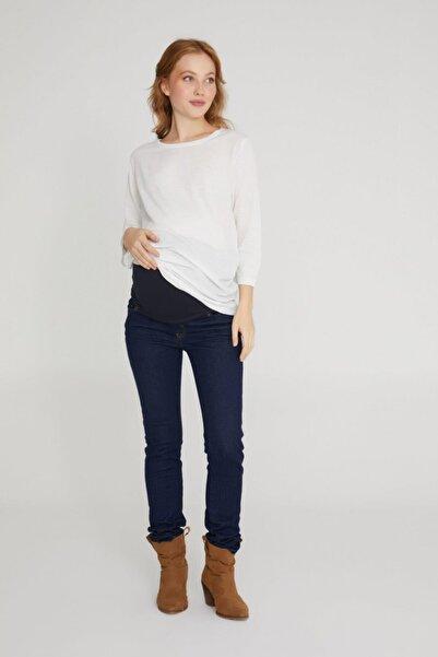VAVIEN Hamile Jean Likralı Denim Pantolon Slim Fit Koyu Mavi Vasirus