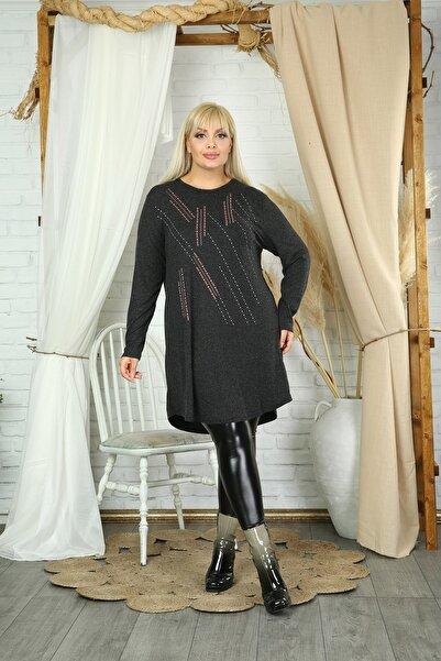 Butik Şımarık Kadın Büyük Beden Siyah Renk Çizgi Baskılı Yeşil Anne Tarzı Tunik